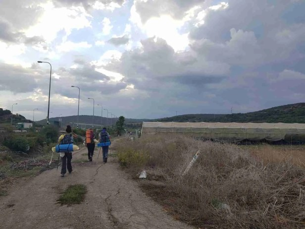 Hiking on the agricultural route parallel to the road on the Israel National Trail