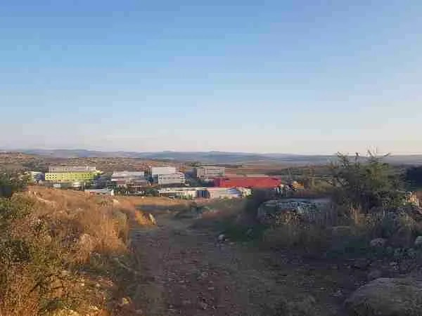 The commercial area from afar on the Israel National Trail