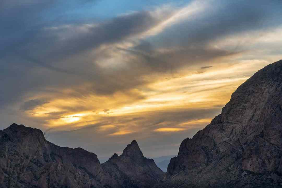 Things to do in Big Bend: Sit in a camp chair and do some star gazing. This is a view of the Chisos Mountains at sunset.