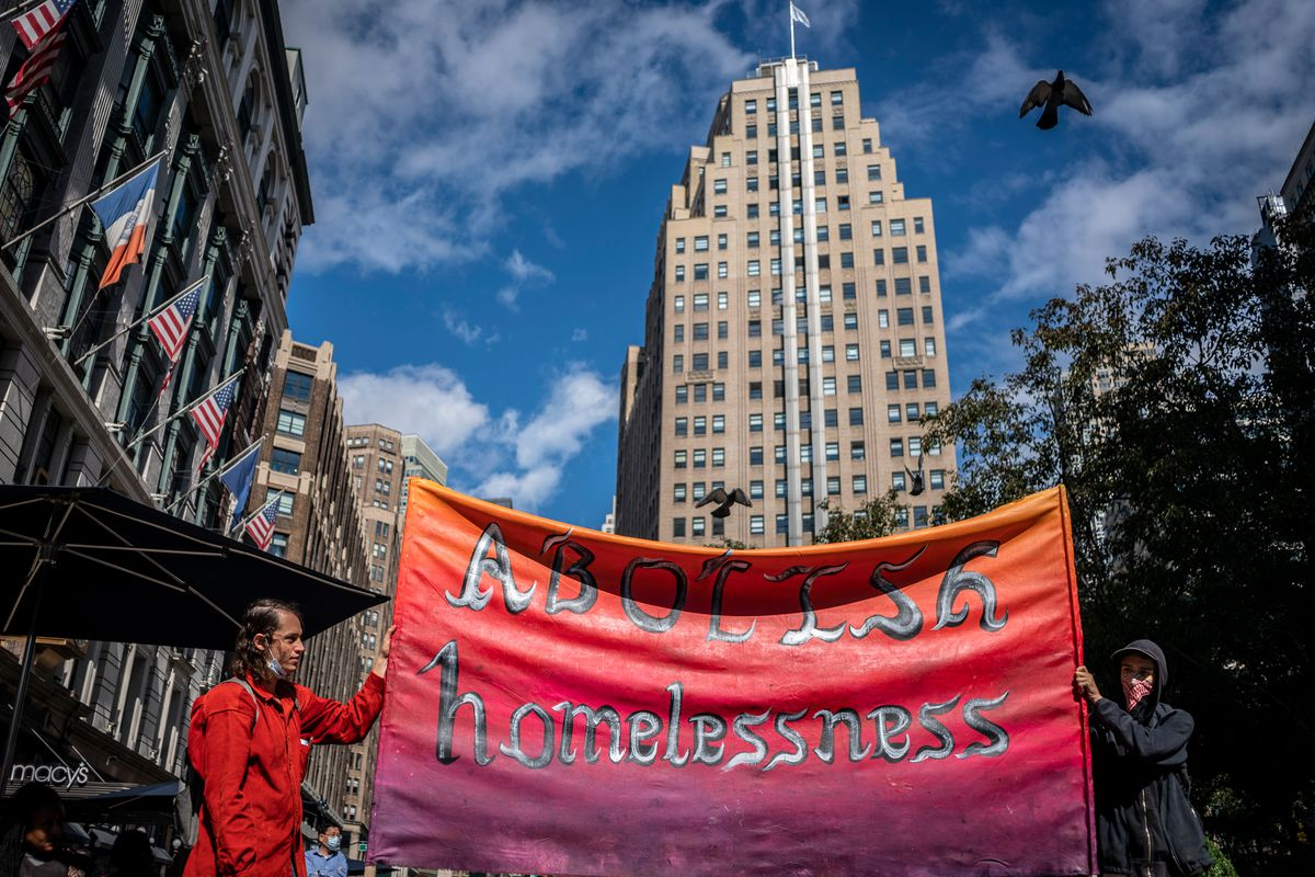 Advocates draw attention in Herald Square to increased struggles for homeless people during the coronavirus outbreak, Oct. 2, 2020. Hiram Alejandro Durán/THE CITY
