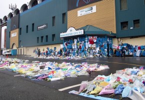 Floral tributes outside Maine Road in 2003