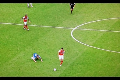 A near-purposeful slip? In a game that encapsulated the flaws of the high line - Gervinho got in behind for the first following Lampard's petulant arguing with the referee, Andre Marriner; Branislav Ivanović and Terry switched off and Bosingwa was badly out of position for the second; the 'far-forward' Terry slipped his positioning for the third; and Florent Malouda's poor backpass allowed Theo Walcott to burst through for the fourth - the flagging John Terry, in an unnatural (roams, rather than stations when going forward) tactical position was about to be seriously out-paced by Arsenal's Robin van Persie in a 3-5 defeat