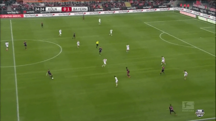 Although according to 'juego de posición' 2 players mustn't occupy the same vertical line, because they are blocking each other, but here this vertical overload helps Coman - RW - to receive and turn with the ball between the lines, as the RCM blocks the LCB, who can't step up to close down the RW.