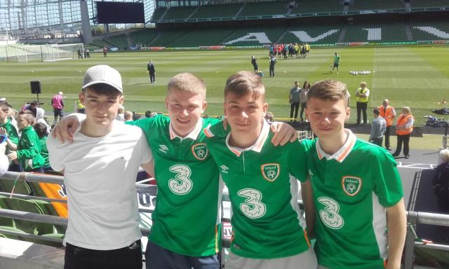 Kamil Skorowski, Nathan Mcgrath, Dean Moran and Cian McDonnell from Ashbourne, Co. Meath soaking up the atmosphere
