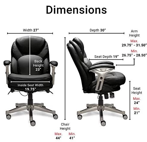 SertaWorks Executive Office Chair Dimentions and Specifications