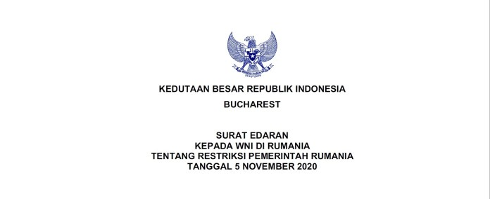 Announcement To Indonesian Citizens In Romania Concerning Restriction Of The Government Of Romania November 5th 2020