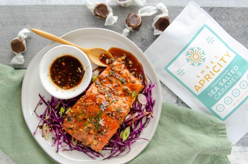 caramel garlic glazed salmon