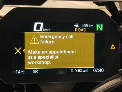 BMW R1250 GS Adventyre Emergency call failure