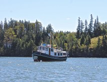 Trawler At Anchor Off Maine Island