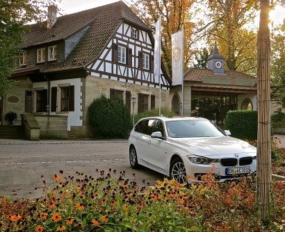 Our Rented BMW Parked At The Front Entrance Of The Hotel