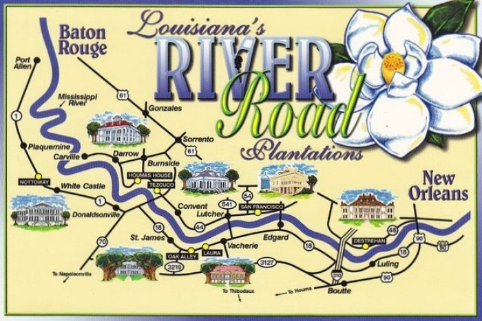 Louisianas River Road Plantations - River road map