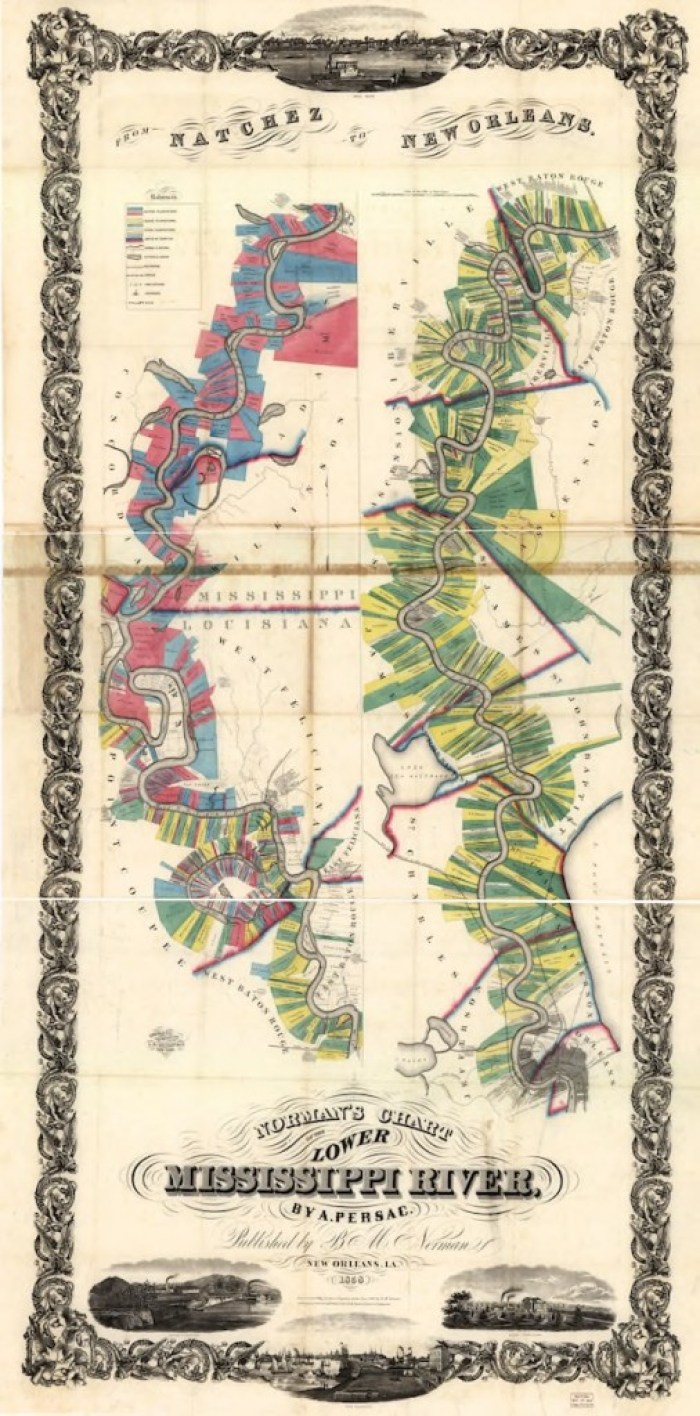 Norman's Chart Map Mississippi River Louisiana Plantations