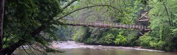 Hanging rock swinging bridge