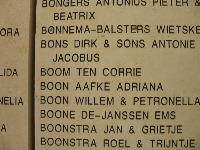 Corrie ten Boom's name on the Wall of Honor at Yad Vashem in Jerusalem, Israel.