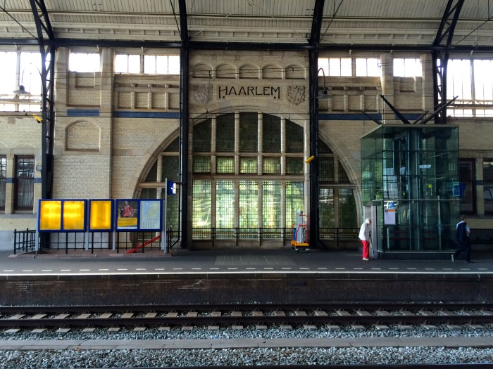 Inside Haarlem, Netherlands train station.