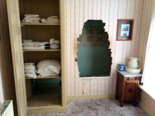 The hiding place in Corrie ten Boom's bedroom.