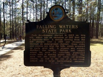 Falling Waters State Park Historical Marker Florida