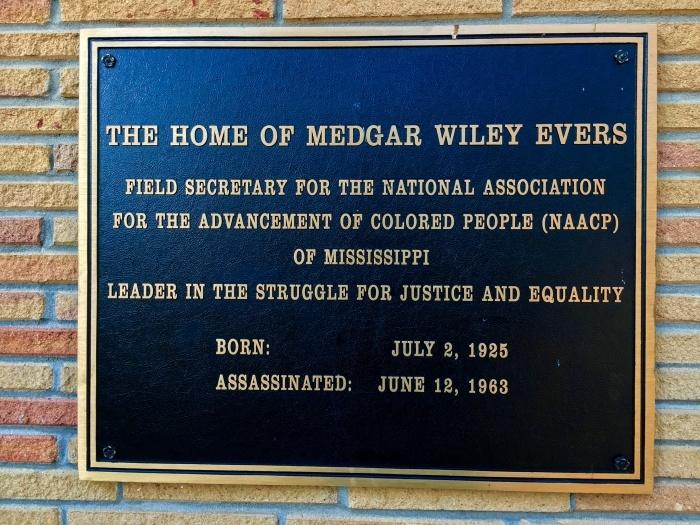Medgar Evers Home Museum Jackson Mississippi Sign