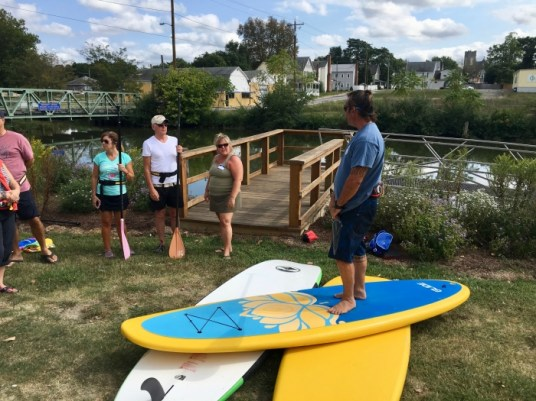 man teaching how to use a stand up paddle board SUP