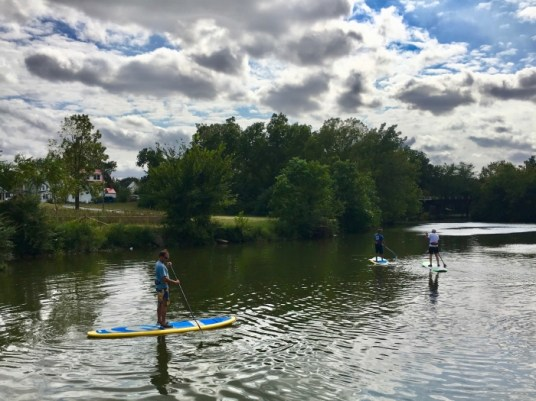 stand up paddle boards on a river