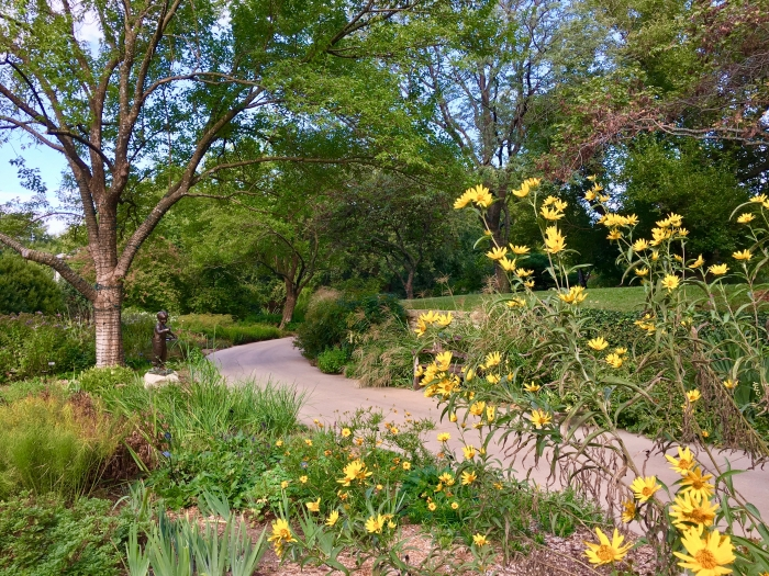 garden path with sunflowers