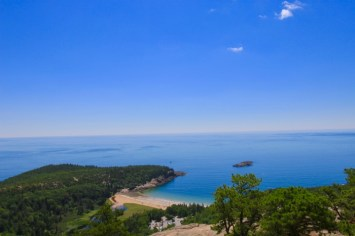 View of ocean from mountaintop