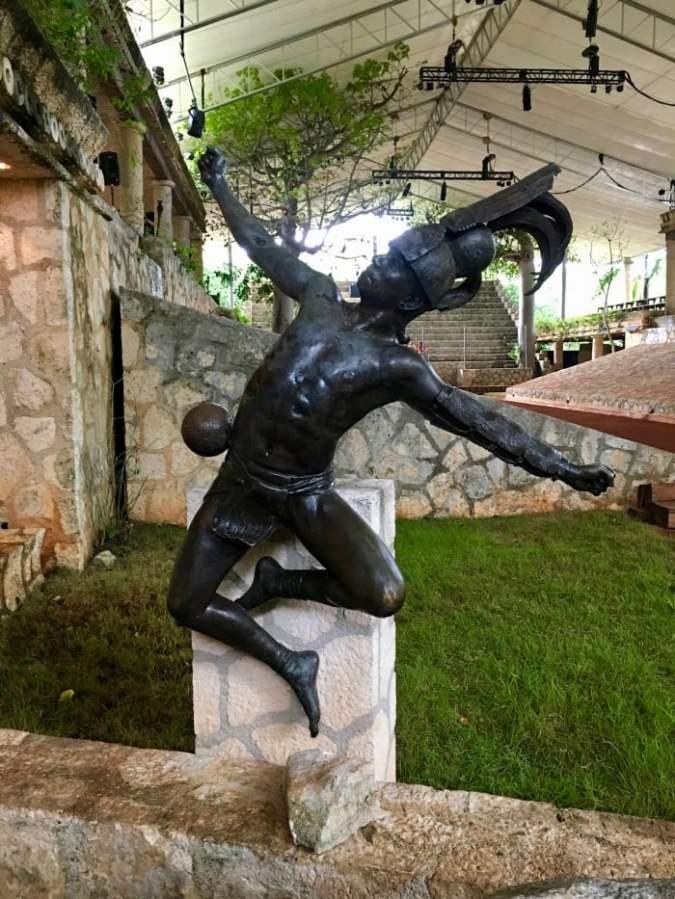 Mayan athlete statue