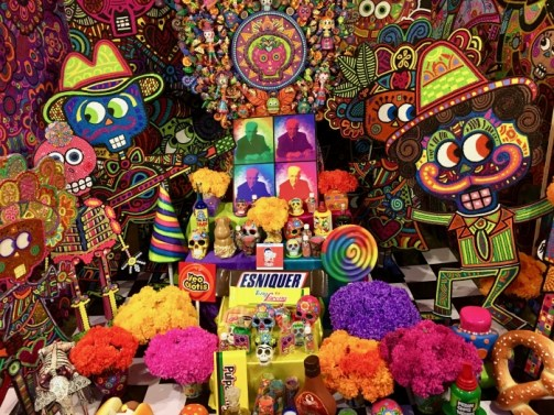colorful Day of the Dead altar