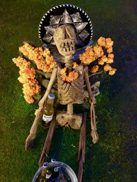 Day of the Dead skeleton with Corona beer