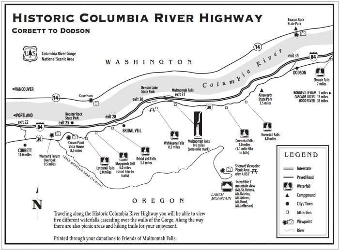 Columbia River Gorge Hiking Map on