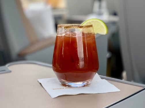 A Caesar beverage on the Rocky Mountaineer Train