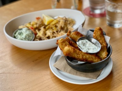 Fried Pickles & Calamari at Tap & Barrel