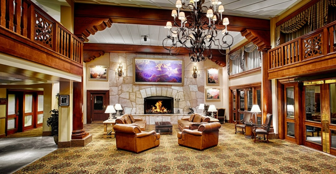 Grand Canyon Railway Hotel lobby fireplace - Take the Train to Grand Canyon National Park: An Insider's Guide