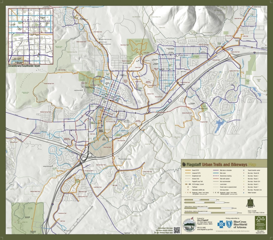 Flagstaff Urban Trails Map - Tour Flagstaff Attractions On Your Own