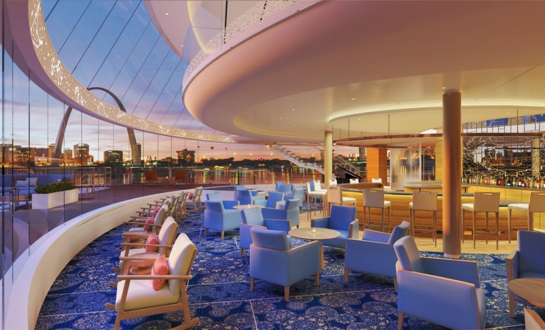 CC Viking Mississippi Explorers Lounge RND - 4 New Viking Mississippi River Cruise Routes Announced