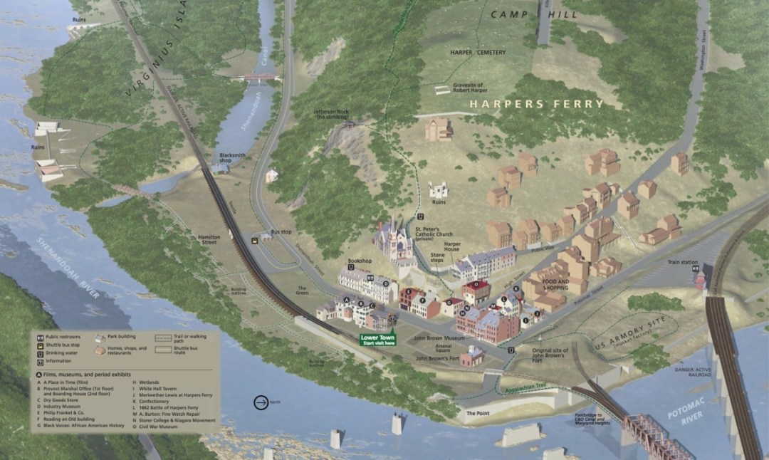 NPS Harpers Ferry Map - Things to Do in Harpers Ferry WV: History, Hikes & Whitewater
