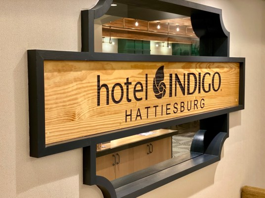 Hotel Indigo Hattiesburg MS sign - Visit the Mississippi Armed Forces Museum at Camp Shelby
