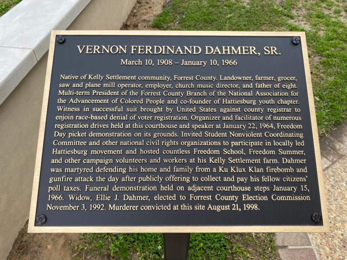 Vernon Dahmer Monument plaque - Explore African American Heritage Sites in Hattiesburg MS