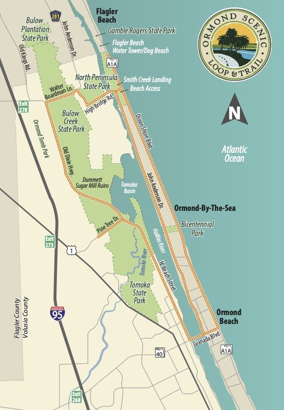 Ormond Scenic Loop Trail Map - Florida's Tomoka State Park Camping, Recreation & History