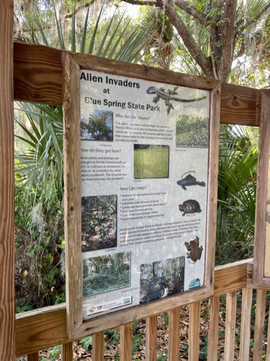 Alien Invaders sign - Discover Florida's Blue Spring State Park & Campground