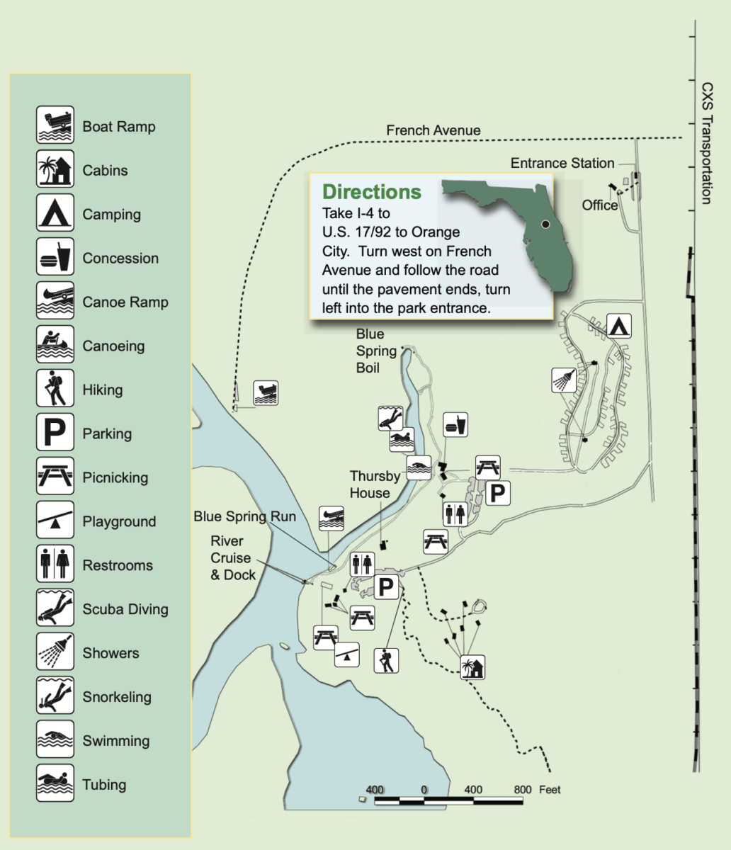Map Blue Spring State Park - Discover Florida's Blue Spring State Park & Campground