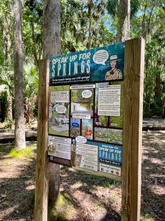 Speak Up for Springs sign - Discover Florida's Blue Spring State Park & Campground