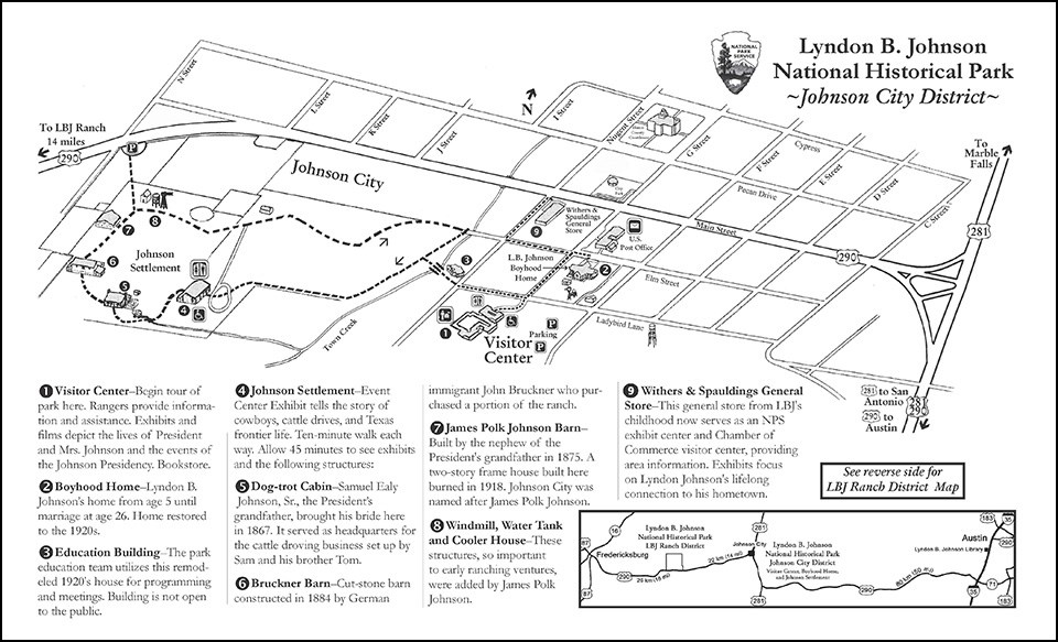 LBJ NHP Johnson City District map - Explore LBJ Ranch and the Texas Hill Country