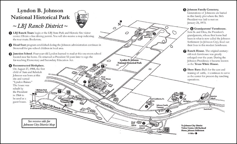 NHP LBJ Ranch District map - Explore LBJ Ranch and the Texas Hill Country