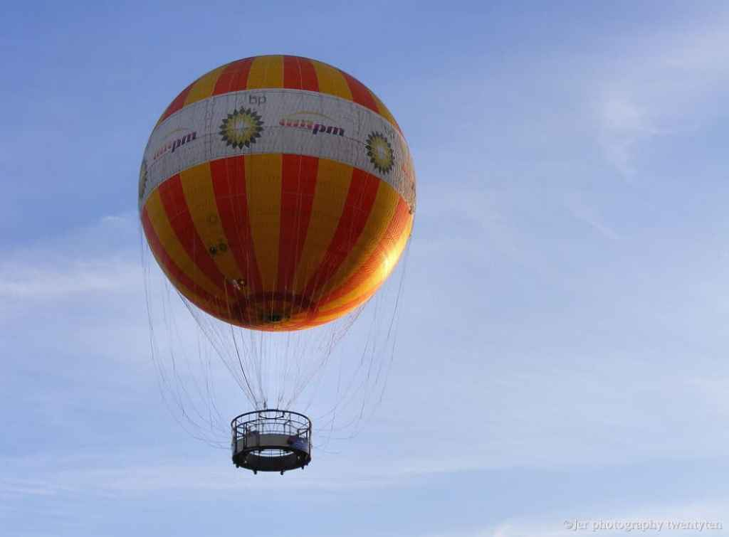 A historic balloon ascends at Conner Prairie living history museum