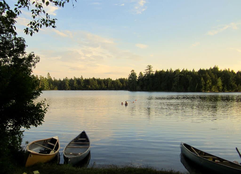 Twilight on a lake in the St. Regis Canoe ARea