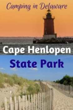 A view of the beach and the lighthouse at Cape Henlopen State Park