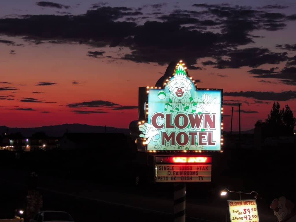 A lit-up sign of the Clown Motel in Tonopah, NV