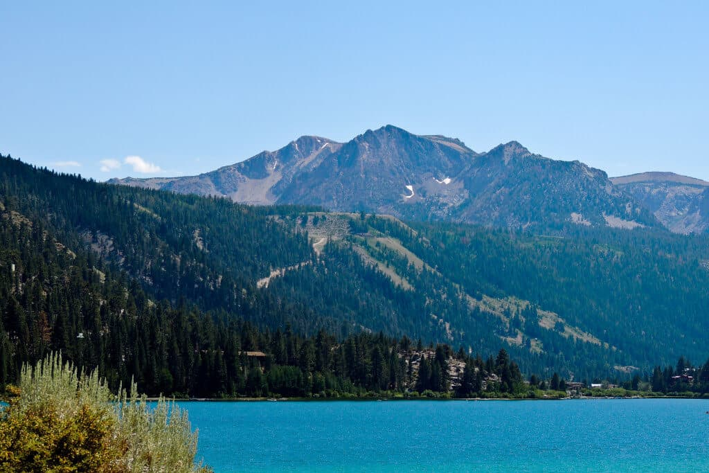 A view of June Lake and the mountains on a hot summer day