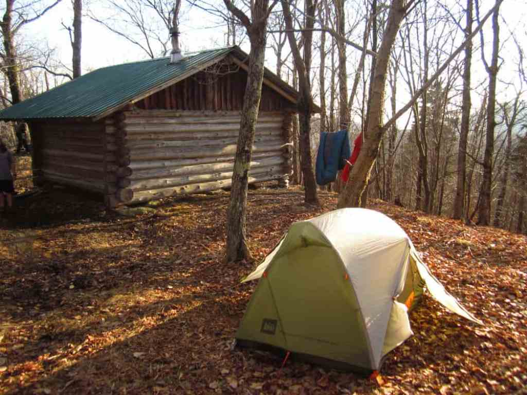 The outside of one of the New England camping cabins at Merck Forest